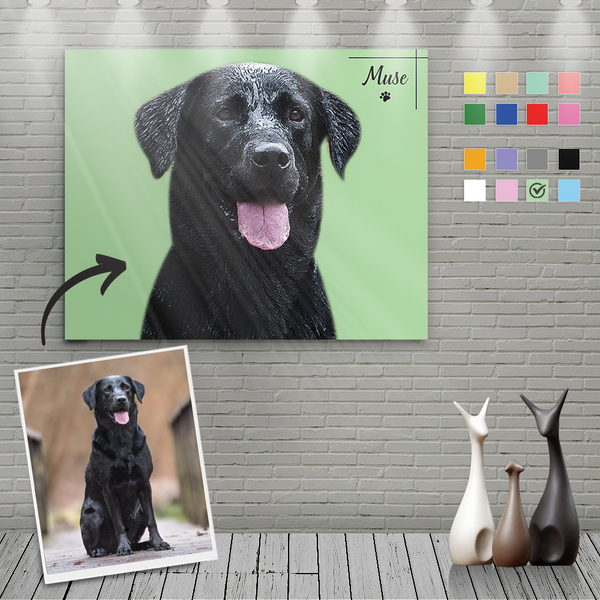 Custom Canvas Painting For Dog Portrait With Name-Horizontal Rectangle
