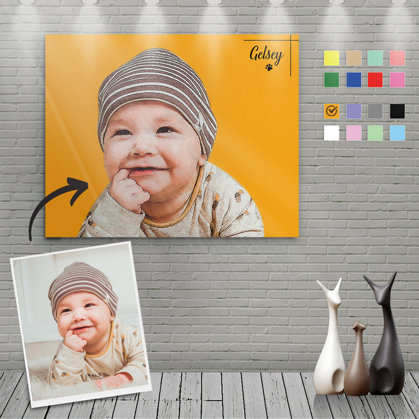 Custom Canvas Painting For Baby Portrait With Name-Horizontal Rectangle