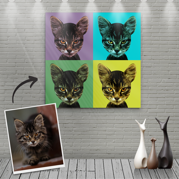Custom Canvas Painting For Cat Portrait - Four Cool Colour