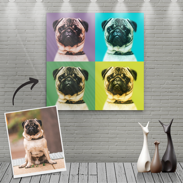 Custom Canvas Painting For Dog Portrait - Four Cool Colour