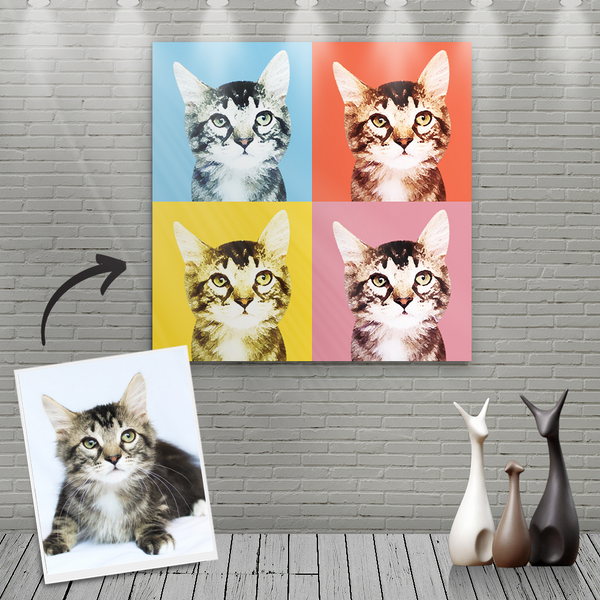 Custom Canvas Painting For Cat Portrait - Four Warm Colour