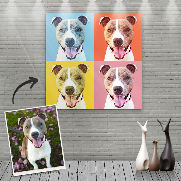 Custom Canvas Painting For Dog Portrait - Four Warm Colour