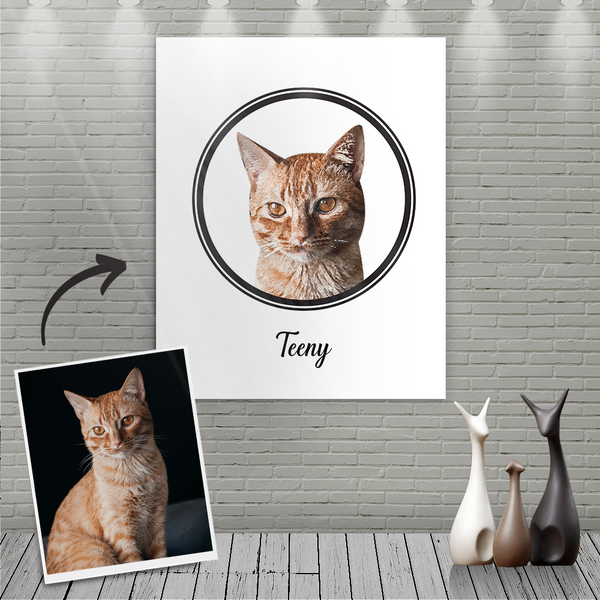 Custom Canvas Painting For Cat Portrait With Name-Nordic style