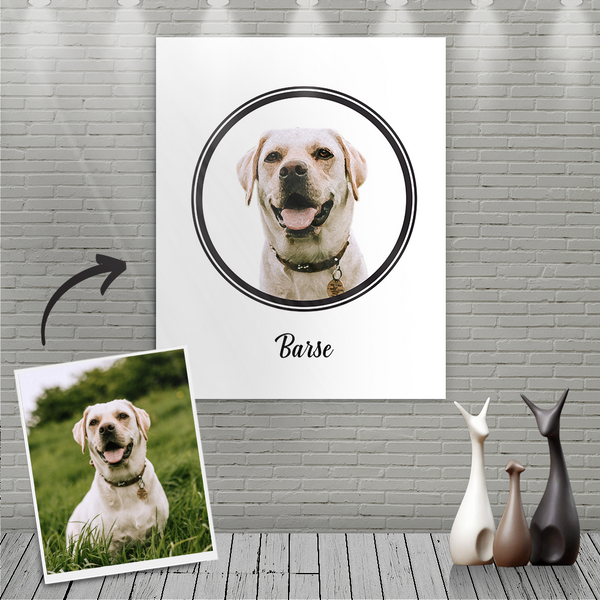 Custom Canvas Painting For Dog Portrait With Name-Nordic style
