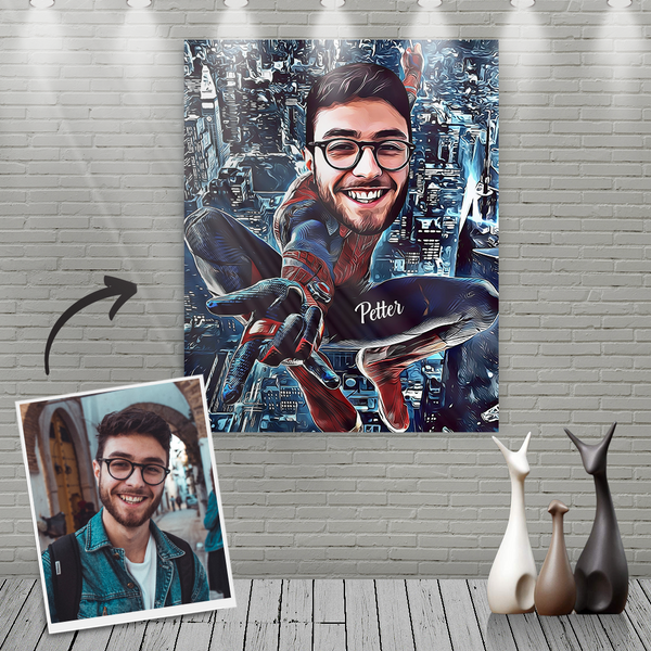 Custom Spider Man Cartoon Portrait With Name Canvas Painting