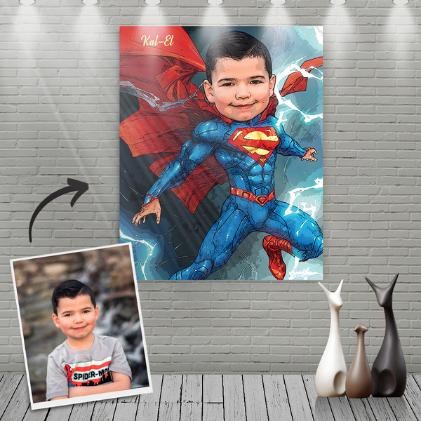 Custom Super Man Cartoon Portrait With Name Canvas Painting