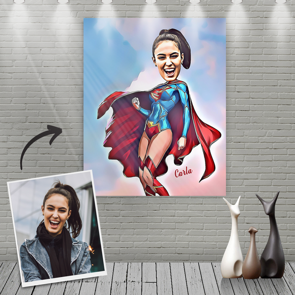 Custom Super Woman Cartoon Portrait With Name Canvas Painting