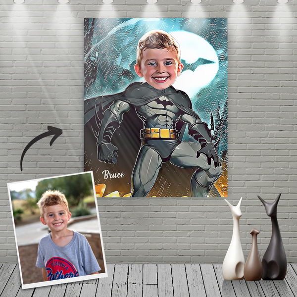 Custom Batman Cartoon Portrait With Name Canvas Painting