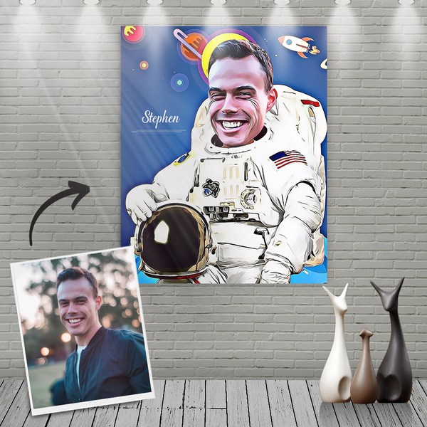 Custom Spaceman Cartoon Portrait With Name Canvas Painting
