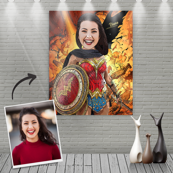 Custom Wonder Woman Cartoon Portrait With Name Canvas Painting