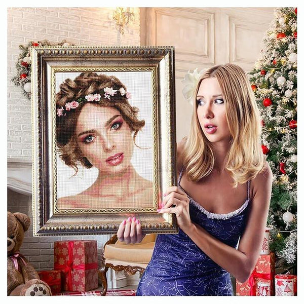 5D Diy Custom Beautiful Girl Photo Diamond Painting