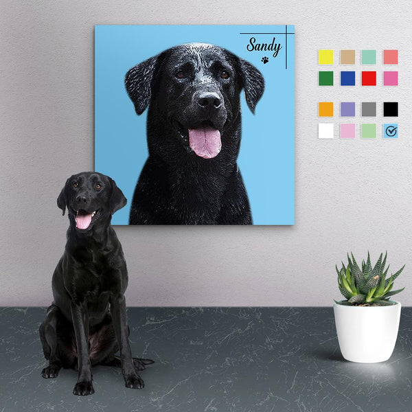 Custom Canvas Painting For Dog Portrait With Name-Square