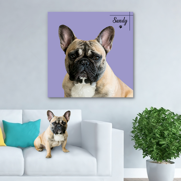 Custom Canvas Painting For Dog Portrait With Name-Square(Popular)