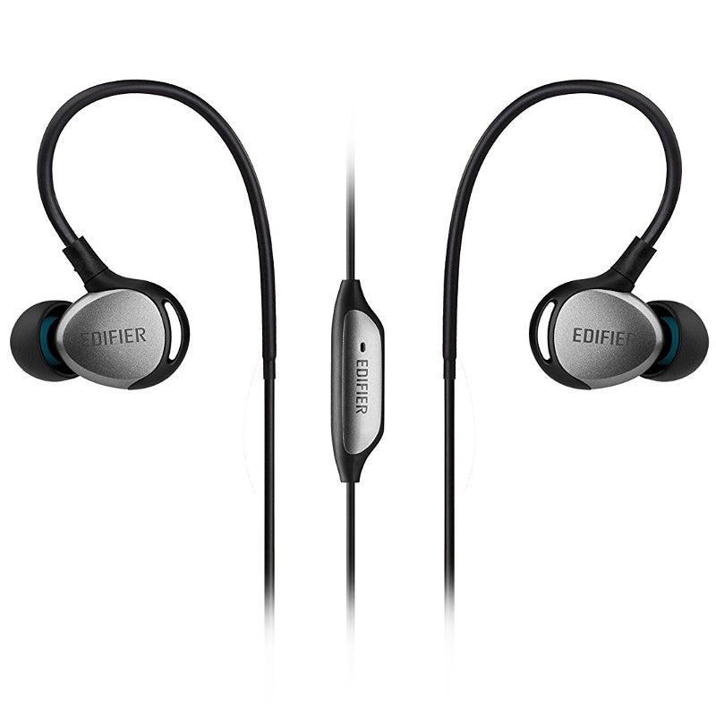 Edifier P281 Sports In Ear Isolating Earphones with Smartphone Controls & Mic - Black-Silver - Refurbished