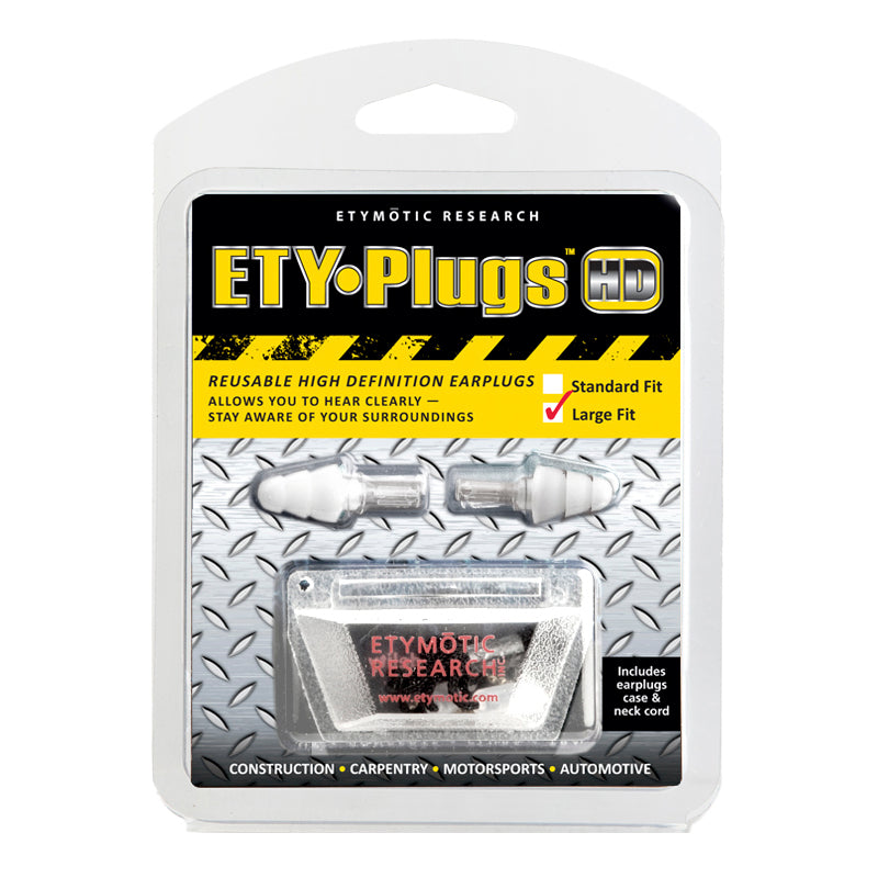 Etymotic ETY-Plugs HD-Safety Earplugs Large - Clear Stem-White Tip (Polybag Packaging)