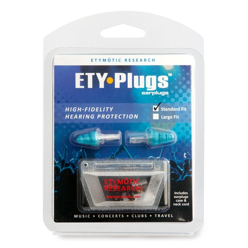 Etymotic ETY-Plugs High Fidelity Earplugs Standard - Clear Stem-Blue Tip (Clamshell Packaging)