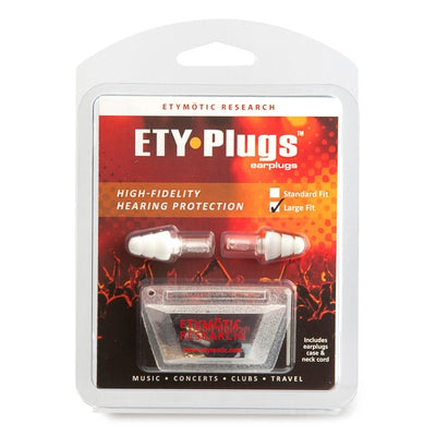 Etymotic ETY-Plugs High Fidelity Earplugs Large - Clear Stem-White Tip (Clamshell Packaging)