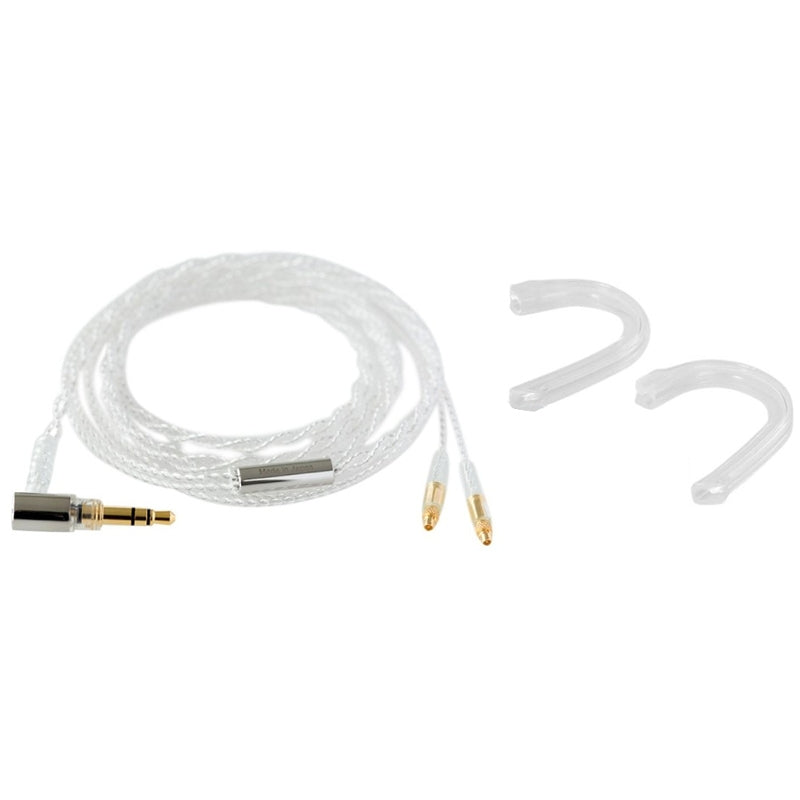 Final C81 Silver Cable with Straight MMCX - Angled 3.5mm Plug and Ear Hooks - 1.2m