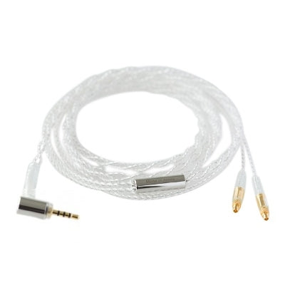 Final C81 Silver Cable with Straight MMCX - Balanced 2.5mm Angled Plug and Ear Hooks - 1.2m