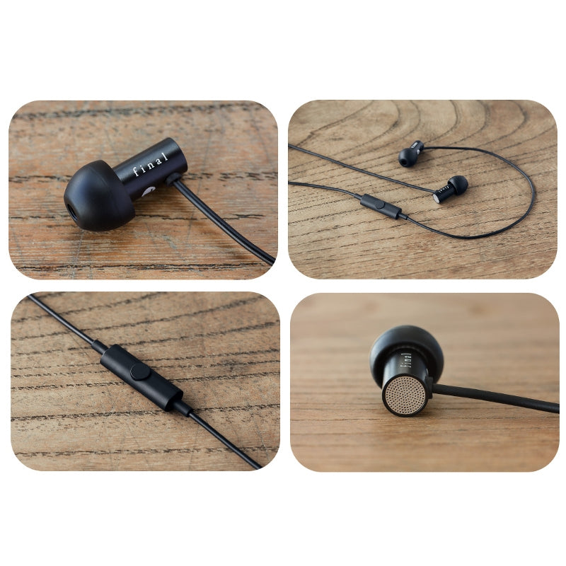 Final E2000C In Ear Isolating Earphones with Smartphone Controls & Mic - Black Aluminium - Refurbished