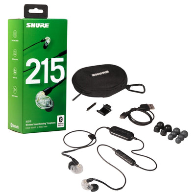 Shure SE215 Single Driver IEM Earphones with Detachable Bluetooth Cable - Clear - Refurbished
