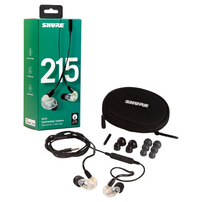 Shure SE215 Single Driver IEM Earphones with Detachable Communication Cable - Clear - Refurbished