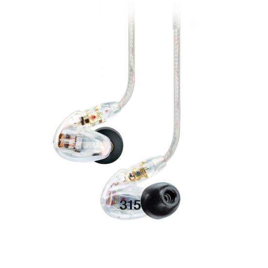 Shure SE315 Single Driver IEM Earphones with Replaceable Cable - Clear - Refurbished