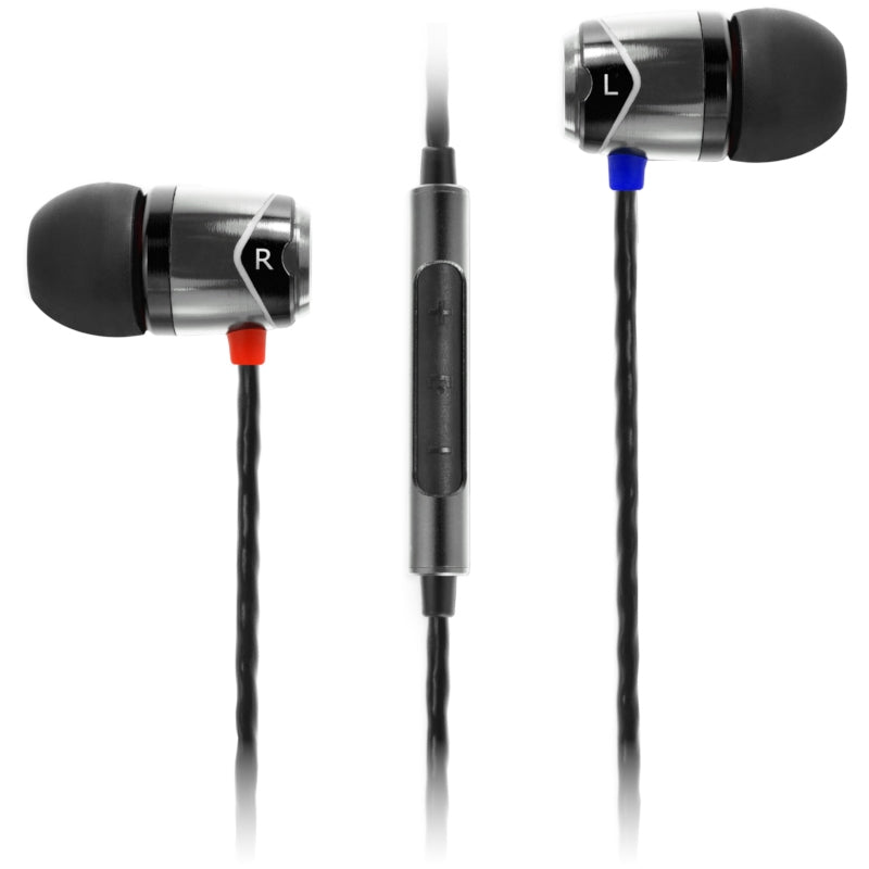 SoundMAGIC E10C In Ear Isolating Earphones with Mic - Black & Silver - Refurbished