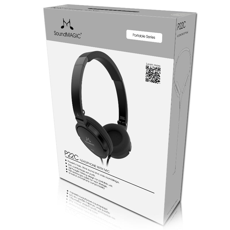 SoundMAGIC P22C Portable Headphones with Universal Smartphone Controls & Mic - Refurbished