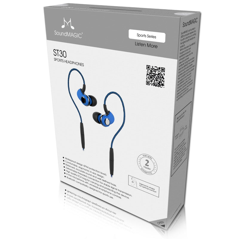 SoundMAGIC ST30 Wireless Sports Earphones with Detachable Cables - Blue - Refurbished