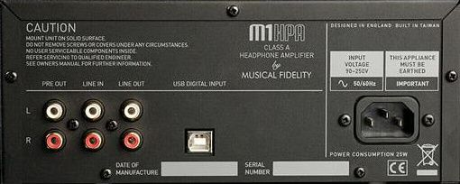 Musical Fidelity M1 HPA Class A Headphone Amplifier Back View