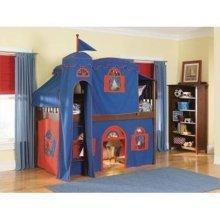 Bolton Furniture 9921600LT5BR Mission Twin Low Loft Bed, Cherry, with Blue-Red Top Tent, Bottom Playhouse Curtain