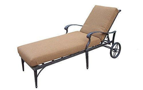 "82"" Black Aluminum Outdoor Patio Chaise Lounge w/Wheels &Tan Sunbrella Cushions"