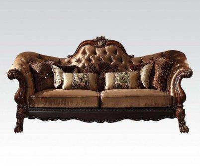 Acme Furniture 52095 Dresden Sofa w/7 Pillows, Golden Brown Velvet & Cherry Oak