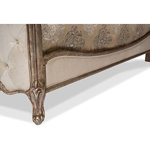 AICO Platine de Royale King Panel Bed in Antique Platinum