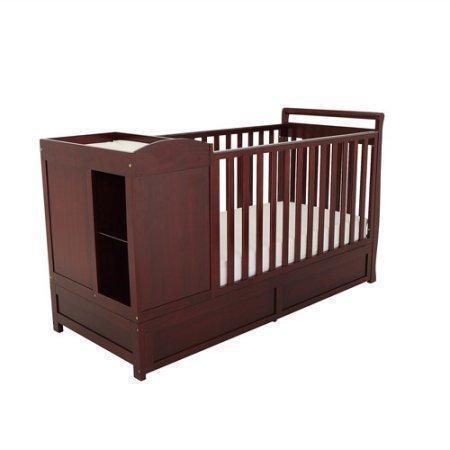 3-in-1 Crib & Changer Combo Cherry Color,Toddler Bed DayBed,Full-Size Bed,Made of Sturdy Solid Wood,Fixed-side Crib,Baby Furniture,Open Storage,Three Drawers,Baby Crib,BONUS e-book