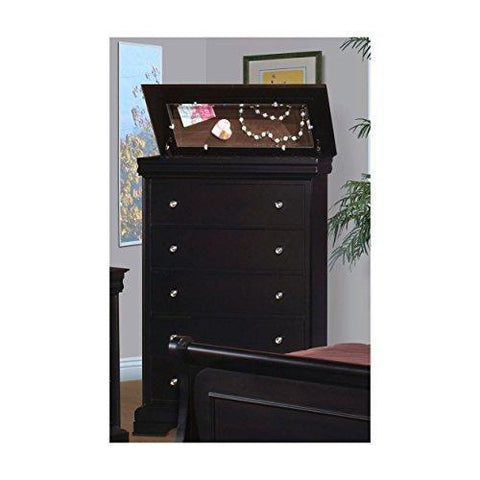 Black Hills Traditional Youth Sleigh 5 Piece Twin Bed, Nightstand, Dresser & Mirror, Chest in Black