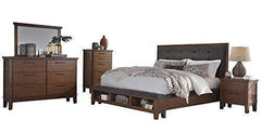 Ashley Ralene 5PC Bedroom Set Cal King Upholstered Storage Bed Dresser Mirror One Nightstand Chest in Dark Brown