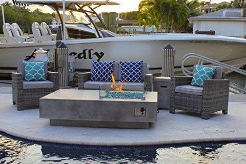 "AKOYA Outdoor Essentials 65"" Rectangular Modern Concrete Fire Pit Table w/Glass Guard and Crystals in Gray by (Emerald Green)"