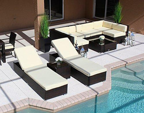 AKOYA Wicker Collection 10 Piece Outdoor Patio Furniture Sectional Sofa Chaise Lounge Set by (Beige)