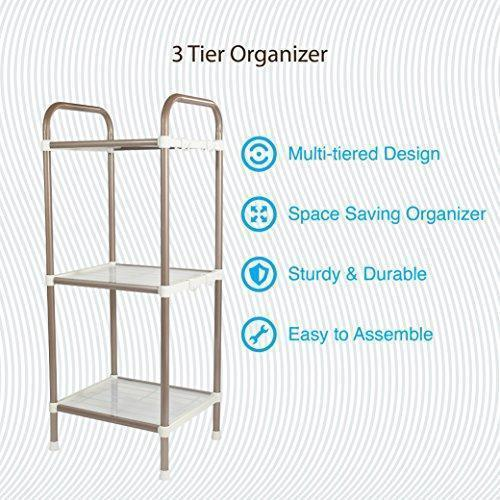 Bathroom Shelf - 3 Tier Shelf Organizer | Space Saving Shelf for Closets, Entryways, Doorways, Mudrooms, Garages & Home Storage | Expandable & Stackable w Other Shelves | Perfect for Organization