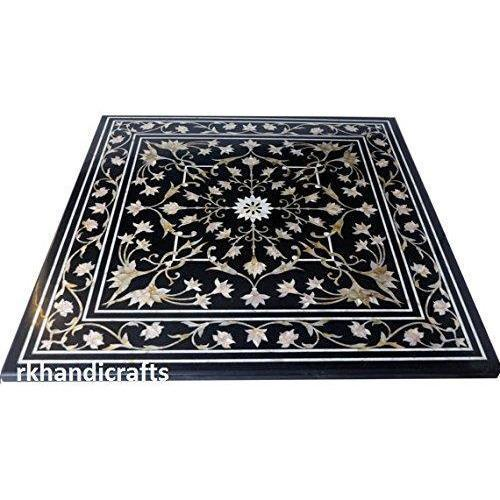 "30"" Square Shape Black Marble Mother Of Pearl Stone Coffee Table Top Inlay Royal Design"