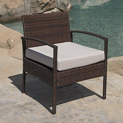 Belleze 3pc Patio Set Furniture Outdoor Sofa Cushion Seat Wicker Set Rattan Backyard Chairs w/Coffee Table, Brown