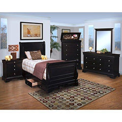Black Hills Youth Sleigh 5 Piece Storage Full Bed, Nightstand, Dresser & Mirror, Chest in Black