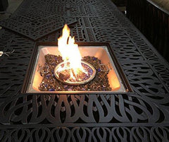 Image of Cast Aluminum Patio Fire Table Propane Dining Double Burner Fire Pit Table Desert Bronze