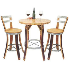 Image of Central Coast Creations Bistro Set Swivel Top Stools - Wine Barrel Handcrafted Wine Barrel Furniture