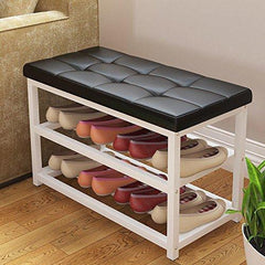 Alek...Shop Entryway Hallway Furniture Shoe Rack Benches Black PU Leather Metal Storage Shoe 2-Tier Organizer Decor