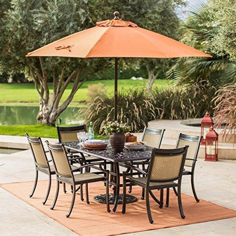 Brown Modern 7pc Cast Aluminum Rectangle Patio Dining Set w/ Sling Chairs | Contemporary Furniture to any Outdoor by the Garden, Porch, Pool or Deck