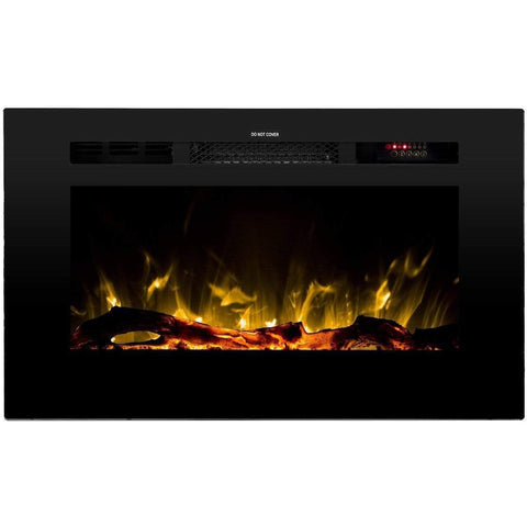 Touchstone Sideline Recessed Electric Fireplace in Black