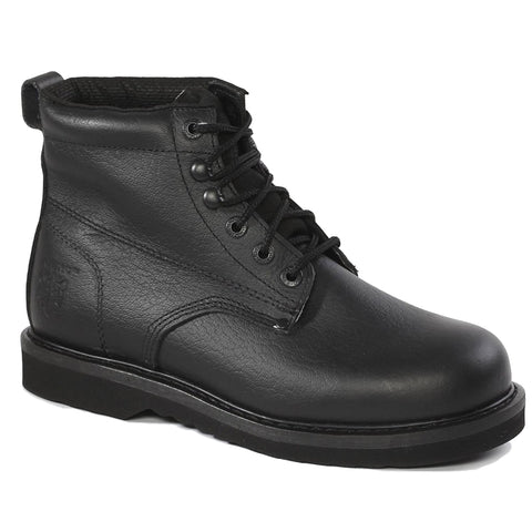 61M21 Rhino 6 inch Plain toe Leather Work Boot - Black